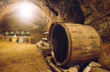 Old barrel for wine in the cellar