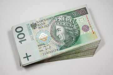 Poland currency zloty - PLN - in notes 100