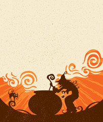 Witches brew. Wide empty space for design in the illustration.
