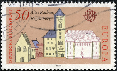 stamp printed in Germany, shows the old Town Hall, Regensburg