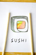 chopsticks on sushi drawing