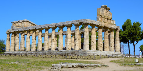 A tourist admires the greek temple of Cecere - Paestum Italy