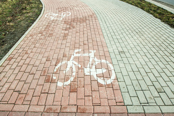 The bike path marked with the horizontal