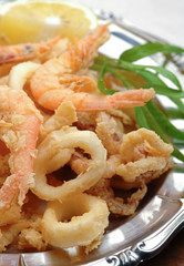 Closeup fried calamari and shrimps