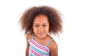 Cute young African American  girl white painting on the face - B