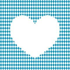 Blau weiss Herz umrandet von Rauten