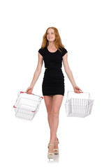 Woman after shopping in the supermarket isolated on white
