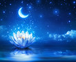 waterlily and moon in starry night - magic background - 69170434