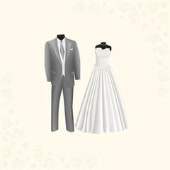 wedding dress and gray men's suit