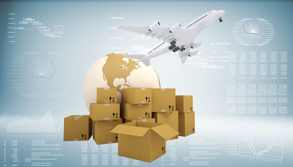 Earth, cardboard boxes and airplane