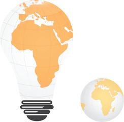 Light bulb image of Africa landmass globe,vector design
