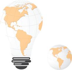 Light bulb image of America landmass globe,vector design