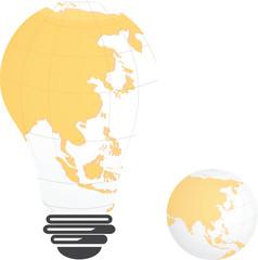 Light bulb image of Asia landmass globe,vector design