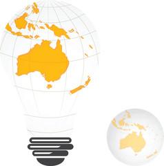 Light bulb image of Australia landmass globe,vector design