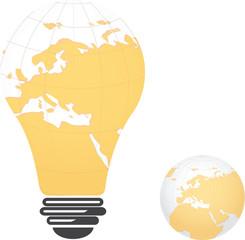 Light bulb image of Europe landmass globe,vector design