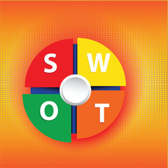 Vector Swot Business Infographic on Dot Pattern