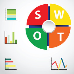 Swot Business Infographic Graph Chart,Vector Illustrator