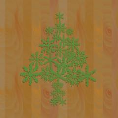 Wood plank with snowflake Christmas tree,vector illustrator