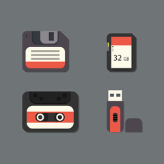 Digital data devices vector flat icon set