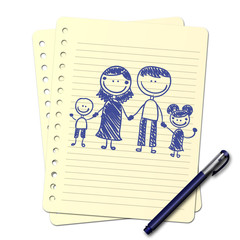 Dessin au stylo : famille B