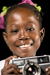 african girl with camera