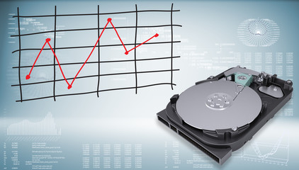 Open hard drive disk with graph of price changes