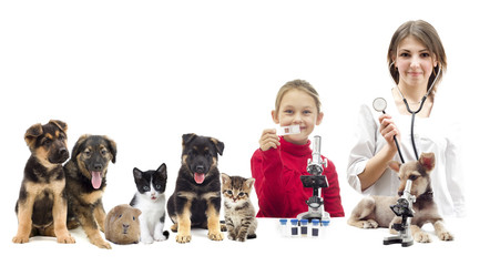 veterinarians and puppy and child
