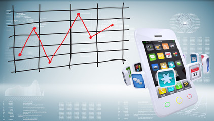 Smartphones with graph of price changes