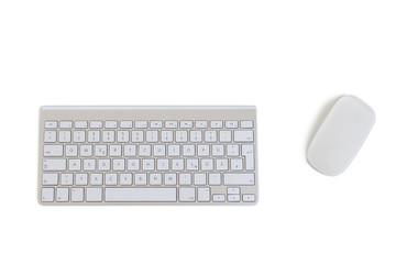 Modern Keyboard and Mouse on white