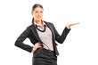 Fashionable female gesturing with hand