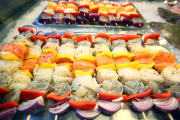 Colorful seafood skewers