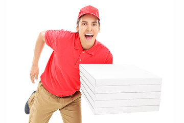 Fast pizza delivery guy running