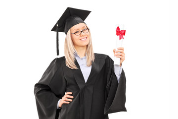 Female student holding a diploma