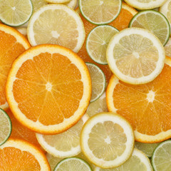 Hintergrund aus Früchte Orangen, Zitronen und Limetten