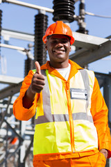 african electrical engineer giving thumb up