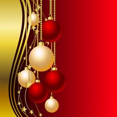 Hintergrund mit roten und weißen Christbaumkugeln
