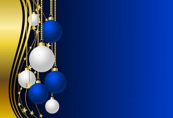 Hintergrund mit blauen und weißen Christbaumkugeln