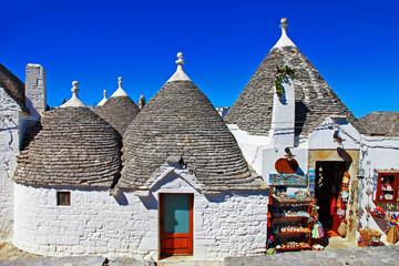 unique trulli houses in Albero bello, Puglia, Italy