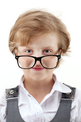 girl with glasses shows an estimate on a white background
