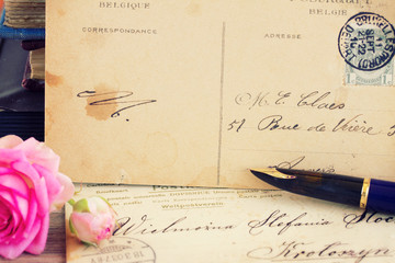 antique empty postcard with  quill pen