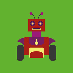 Cartoon Cute Robot Isolated On Background