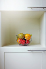 Fruit in the stainless basket