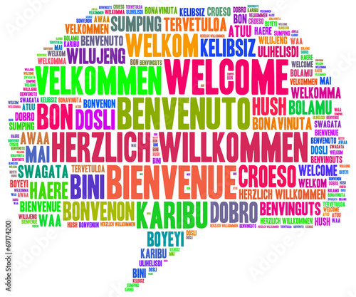 canvas print picture Willkommen Tag Cloud