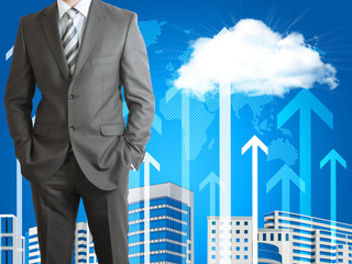 Businessman with cloud, skyscrapers and arrows