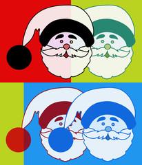 Tête pop art de Père Noël
