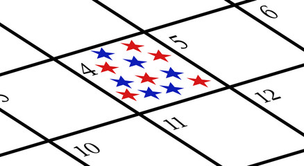 Calendar with USA Independence Day marked