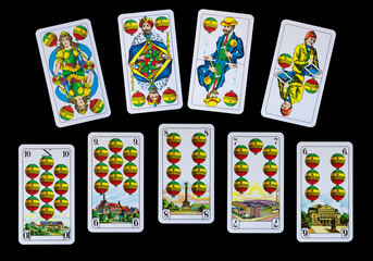 Spielkarten - Reise mit Schellen zu Deutschlands Denkmäler