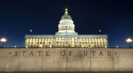 State Capitol Building in Salt Lake City Utah at night.