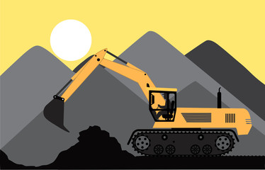 excavator works in a quarry