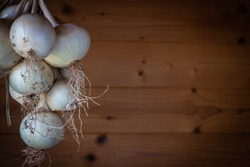 bunch white  of onions hanging on the wooden background